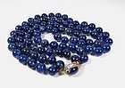 14k gold 2 strand lapis lazuli bead necklace