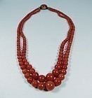 Antique double strand natural red coral bead necklace