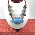 Chinese Export coral Kingfisher necklace in box