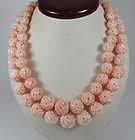 Finest carved angel skin coral bead necklace 14k gold