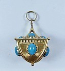 Italian 18k gold Persian turquoise charm, pendant