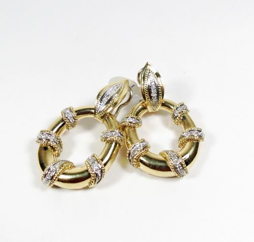 18k gold diamond door knocker earrings made in Italy
