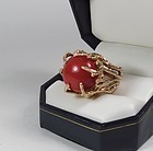 Large modernist 14k gold and dark red coral ring