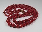 Finest 2 strand natural oxblood coral bead necklace