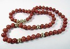 Estate red coral bead necklace 18k gold diamond clasp