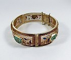 Chinese Export vermeil silver carved jade bracelet