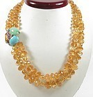 Seaman Schepps 14k gold citrine turquoise necklace