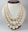 Huge 14k gold 3 strand natural angel skin coral bead necklace