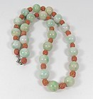 Vintage, Chinese natural jade, carved coral bead necklace 14k clasp