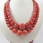 Large Chinese 18k gold genuine Momo bead necklace 150 grams