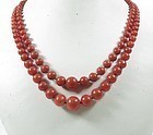 Antique 2 strand genuine red coral bead necklace 10k gold clasp
