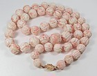 Vintage Chinese 14k gold Angel Skin Coral dragon bead necklace