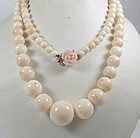 Opera length 14k gold natural angel skin coral bead necklace
