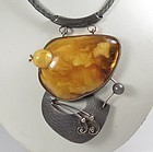 Modernist 1960's sterling silver genuine Butterscotch Amber necklace