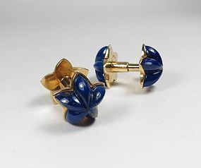 Vintage Cartier 18k gold lapis lazuli cufflinks with box