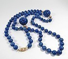 Estate 14k gold lapis lazuli bead necklace 2 carved dragon beads