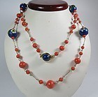 14k gold Chinese natural coral, lapis lazuli & cloisonne bead necklace