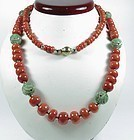 Large Chinese natural red coral & carved jade bead necklace 114 