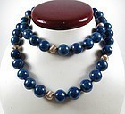 Large 14k gold natural Lapis Lazuli bead necklace