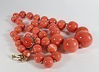 Large Chinese natural Momo coral bead necklace 134 grams