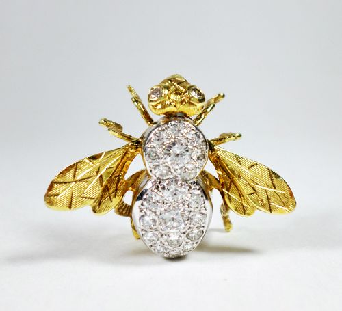 Magnificent 18k gold 1.25ctw diamond bee pin Hammerman Brothers