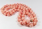 "Massive 34"" long natural Angel Skin Coral bead necklace 14k gold clasp"