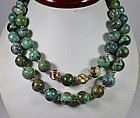 "Vintage 36"" long 14k gold and natural turquoise bead necklace"