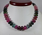 Estate 18k gold natural Tourmaline bead necklace