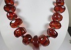 Large antique, silver and natural cognac color Amber bead necklace