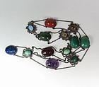 Antique Arts & Crafts huge silver gemstone scarab necklace