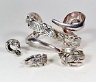 Barry Kieselstein Cord sterling alligator bracelet ring set
