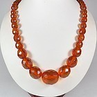 Vintage, natural faceted Baltic honey amber bead necklace 47 grams