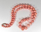 Large, vintage natural salmon color coral bead necklace 102 grams