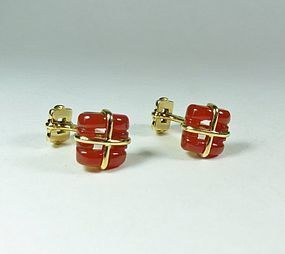 Estate Tiffany & Co 18k yellow gold carved carnelian cufflinks