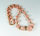 Rare Chinese carved salmon coral dragon bead necklace 75 grams