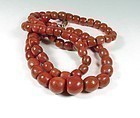 Huge antique natural red coral bead necklace 14k clasp 137.6 grams