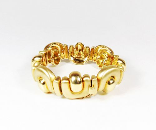 Estate signed Marlene Stowe heavy 18k yellow gold bracelet