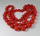 Vintage, large 18k gold Mediterranean red coral bead necklace