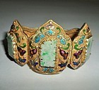 Chinese Export vermeil silver carved jade cloisonne bracelet