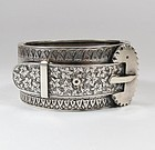 Antique English sterling silver buckle bracelet hinged bangle