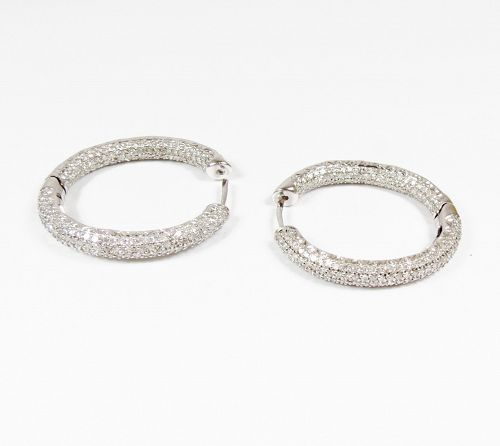 18k white gold and 4ctw micro-pave diamond in/out hoop earrings