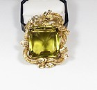 Huge Chinese 14k gold natural lemon citrine dragon pendant