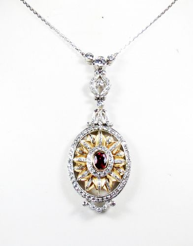 Art Deco designer signed platinum 18k gold diamond ruby necklace