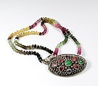 Chinese Export silver natural tourmaline jade necklace
