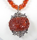 Antique Deco Chinese silver and carved Baltic Amber bead necklace