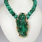 Chinese 14k gold, malachite, green tourmaline diamond necklace