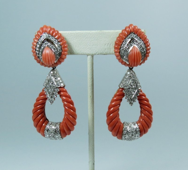 large 18k gold, 2.85ctw diamond carved coral, day night earrings