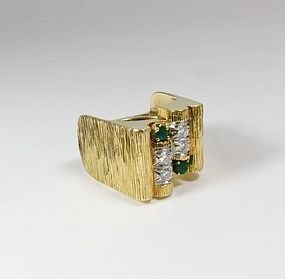 Estate, signed  Henry Dunay 18k gold diamond emerald ring