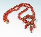 Antique 14k gold natural tomato red coral diamond necklace