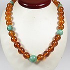 vintage natural Baltic amber turquoise bead necklace